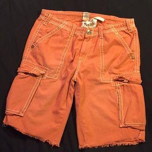 True religion cargo shorts orange wash size 40